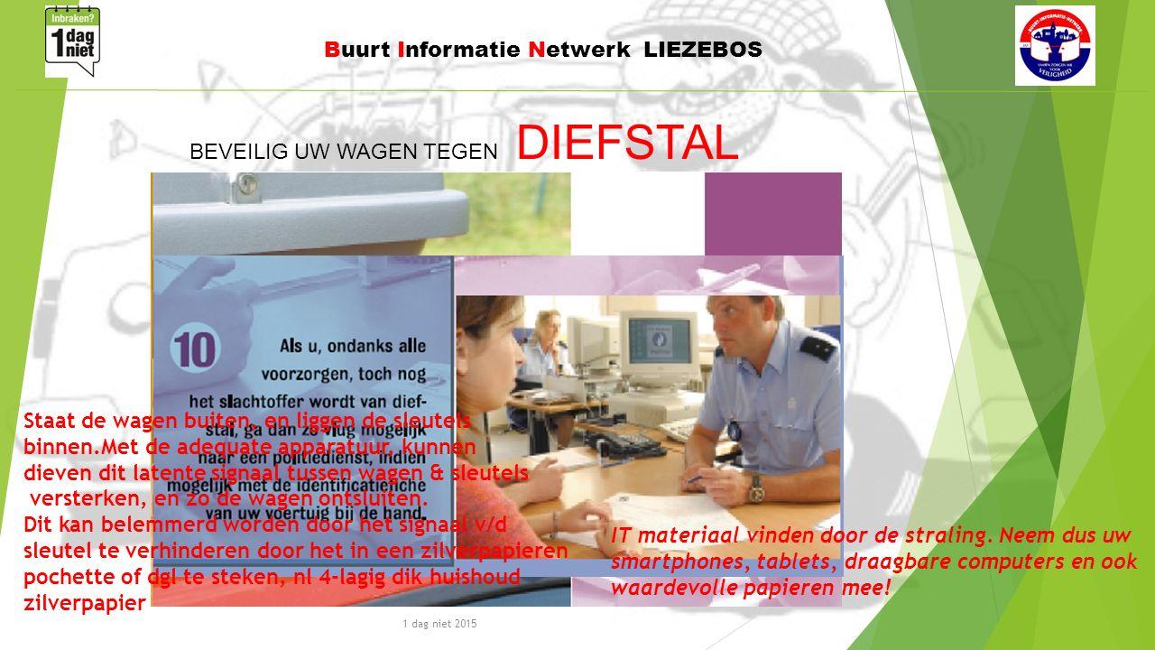 1 dag niet 2015 Buurt Informatie Netwerk LIEZEBOS BEVEILIG UW WAGEN TEGEN DIEFSTAL IT materiaal vinden door de straling.