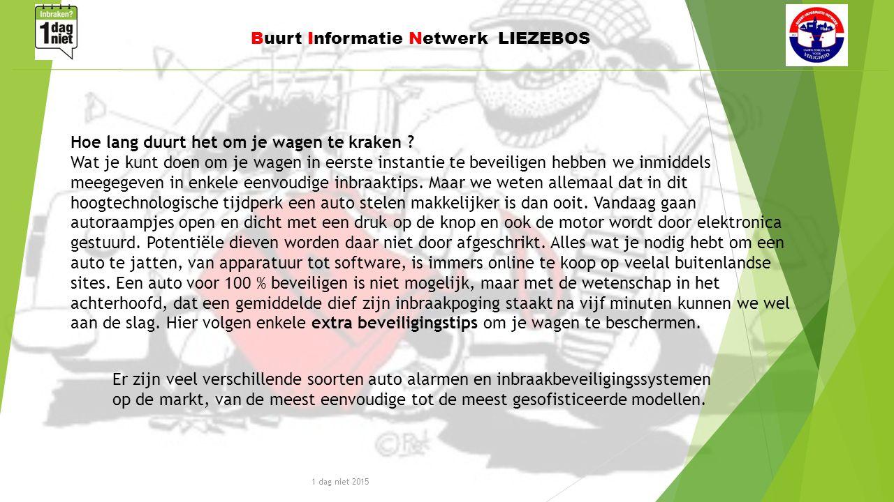1 dag niet 2015 Buurt Informatie Netwerk LIEZEBOS Er zijn veel verschillende soorten auto alarmen en inbraakbeveiligingssystemen op de markt, van de meest eenvoudige tot de meest gesofisticeerde modellen.