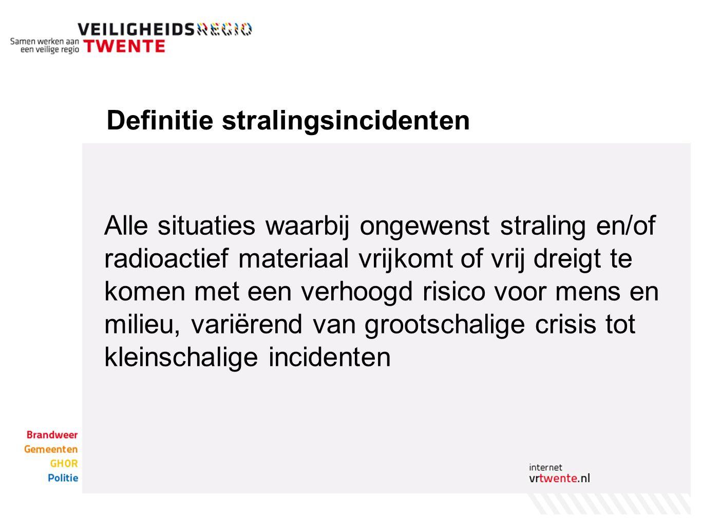 Definitie stralingsincidenten Alle situaties waarbij ongewenst straling en/of radioactief materiaal vrijkomt of vrij dreigt te komen met een verhoogd risico voor mens en milieu, variërend van grootschalige crisis tot kleinschalige incidenten