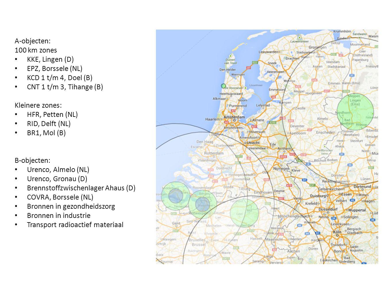 A-objecten: 100 km zones KKE, Lingen (D) EPZ, Borssele (NL) KCD 1 t/m 4, Doel (B) CNT 1 t/m 3, Tihange (B) Kleinere zones: HFR, Petten (NL) RID, Delft (NL) BR1, Mol (B) B-objecten: Urenco, Almelo (NL) Urenco, Gronau (D) Brennstoffzwischenlager Ahaus (D) COVRA, Borssele (NL) Bronnen in gezondheidszorg Bronnen in industrie Transport radioactief materiaal