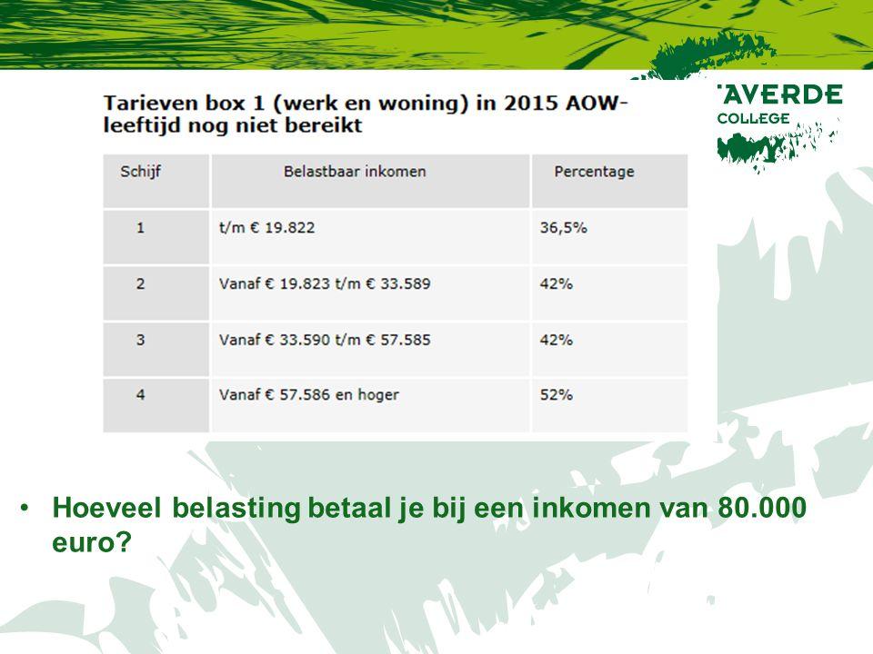 Hoeveel belasting betaal je bij een inkomen van 80.000 euro?