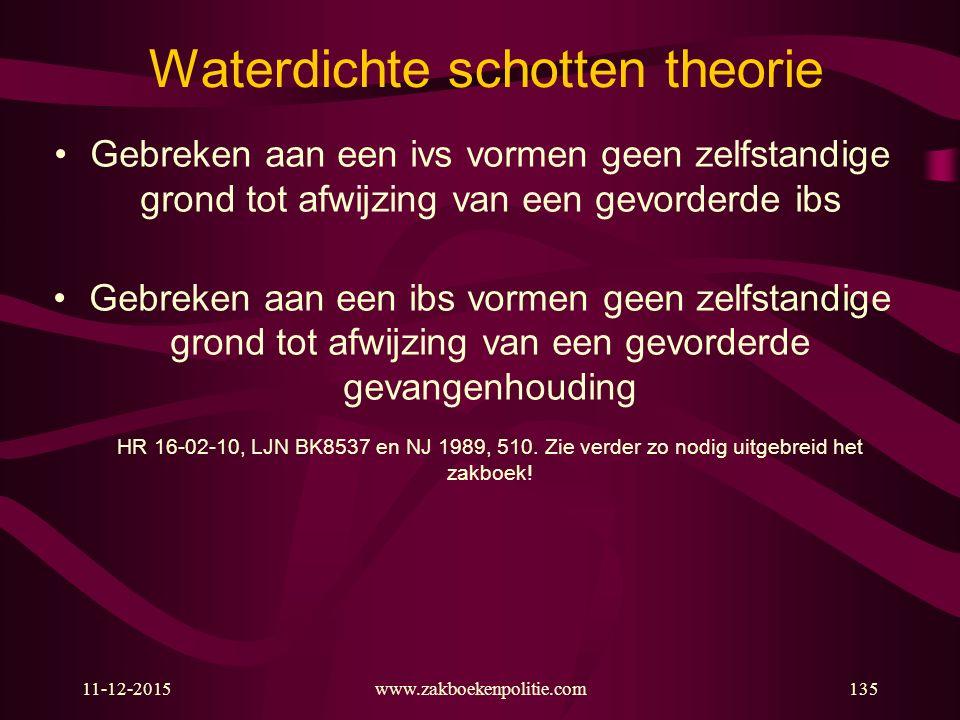 11-12-2015www.zakboekenpolitie.com135 Waterdichte schotten theorie Gebreken aan een ivs vormen geen zelfstandige grond tot afwijzing van een gevorderd