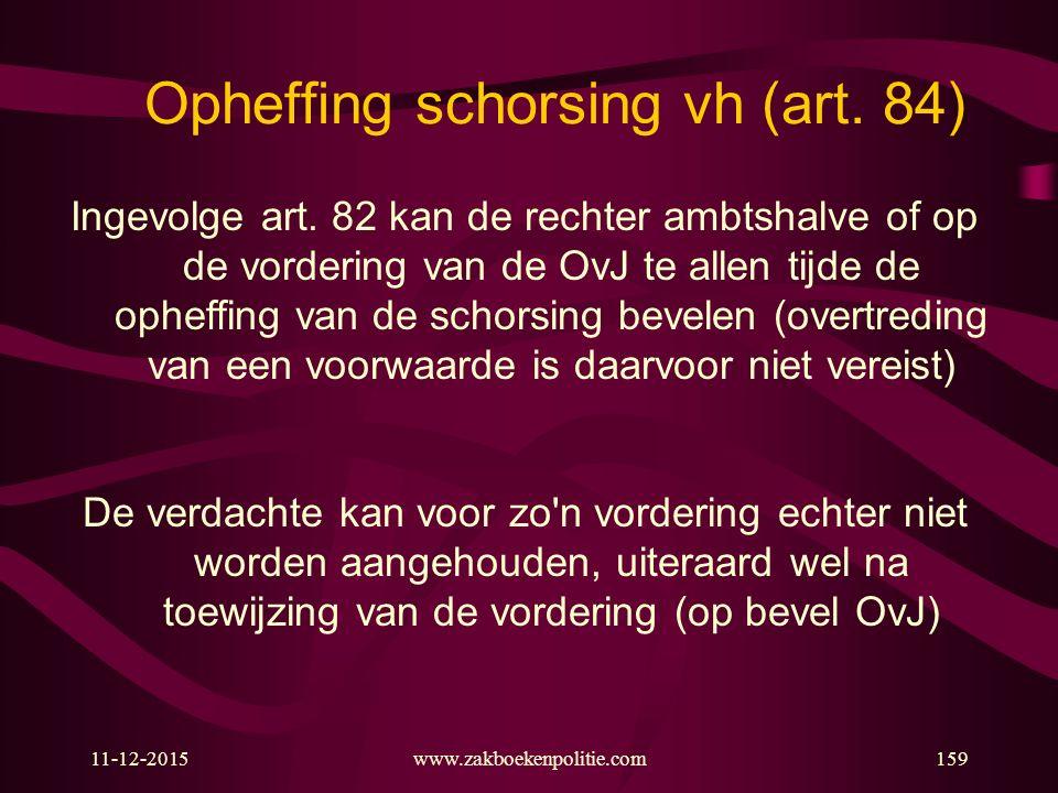 11-12-2015www.zakboekenpolitie.com159 Opheffing schorsing vh (art.