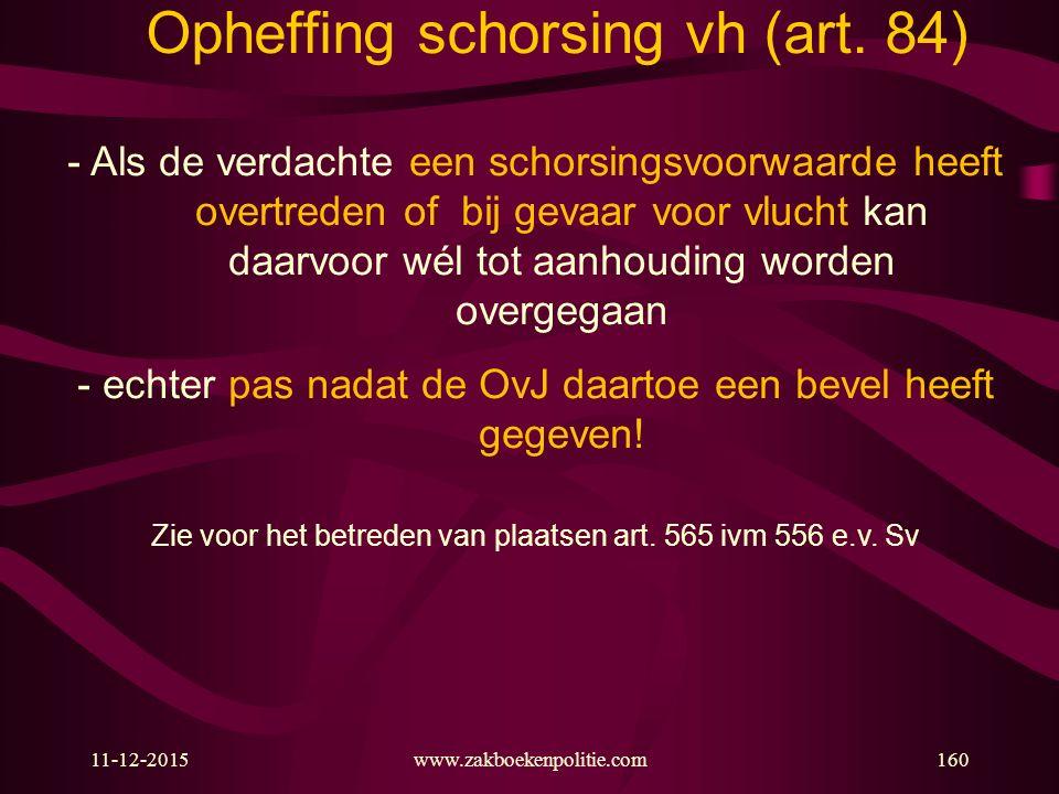 11-12-2015www.zakboekenpolitie.com160 Opheffing schorsing vh (art.