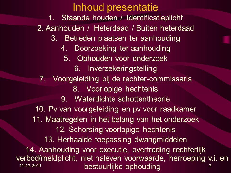 11-12-20152 Inhoud presentatie 1. Staande houden / Identificatieplicht 2.