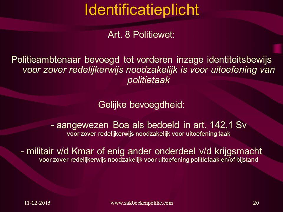 11-12-2015www.zakboekenpolitie.com20 Identificatieplicht Art. 8 Politiewet: Politieambtenaar bevoegd tot vorderen inzage identiteitsbewijs voor zover