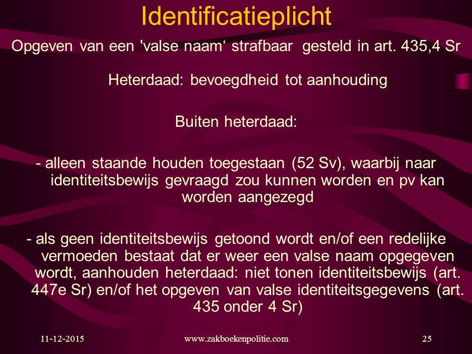 11-12-2015www.zakboekenpolitie.com25 Identificatieplicht Opgeven van een valse naam' strafbaar gesteld in art.