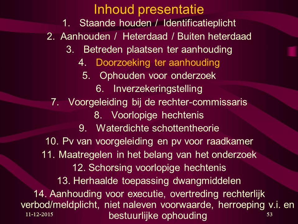 11-12-201553 Inhoud presentatie 1. Staande houden / Identificatieplicht 2.