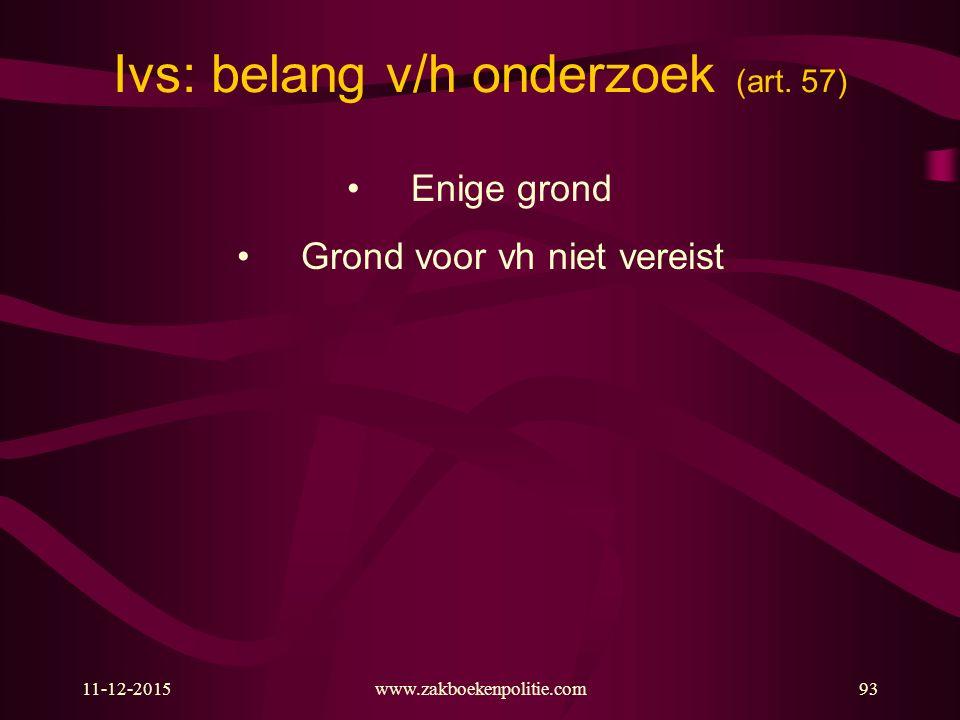 11-12-2015www.zakboekenpolitie.com93 Ivs: belang v/h onderzoek (art.