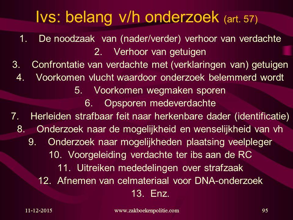 11-12-2015www.zakboekenpolitie.com95 Ivs: belang v/h onderzoek (art.