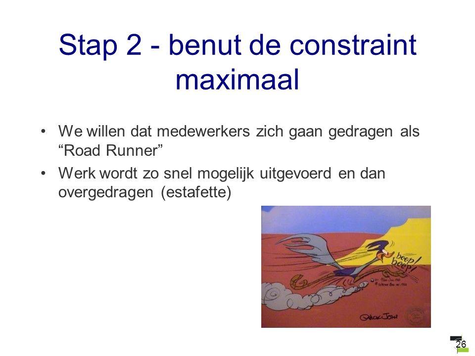 """26 Stap 2 - benut de constraint maximaal We willen dat medewerkers zich gaan gedragen als """"Road Runner"""" Werk wordt zo snel mogelijk uitgevoerd en dan"""