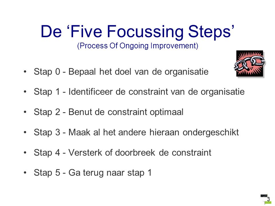 3 De 'Five Focussing Steps' (Process Of Ongoing Improvement) Stap 0 - Bepaal het doel van de organisatie Stap 1 - Identificeer de constraint van de or