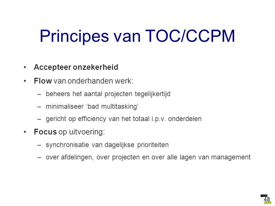 48 Principes van TOC/CCPM Accepteer onzekerheid Flow van onderhanden werk: –beheers het aantal projecten tegelijkertijd –minimaliseer 'bad multitaskin