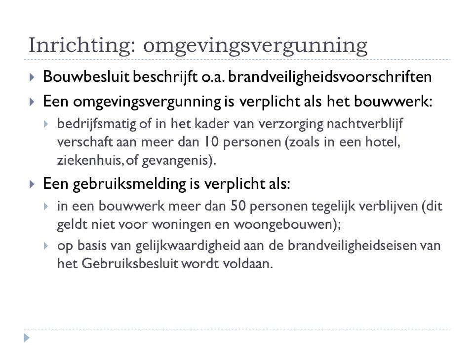 Inrichting: omgevingsvergunning  Bouwbesluit beschrijft o.a.