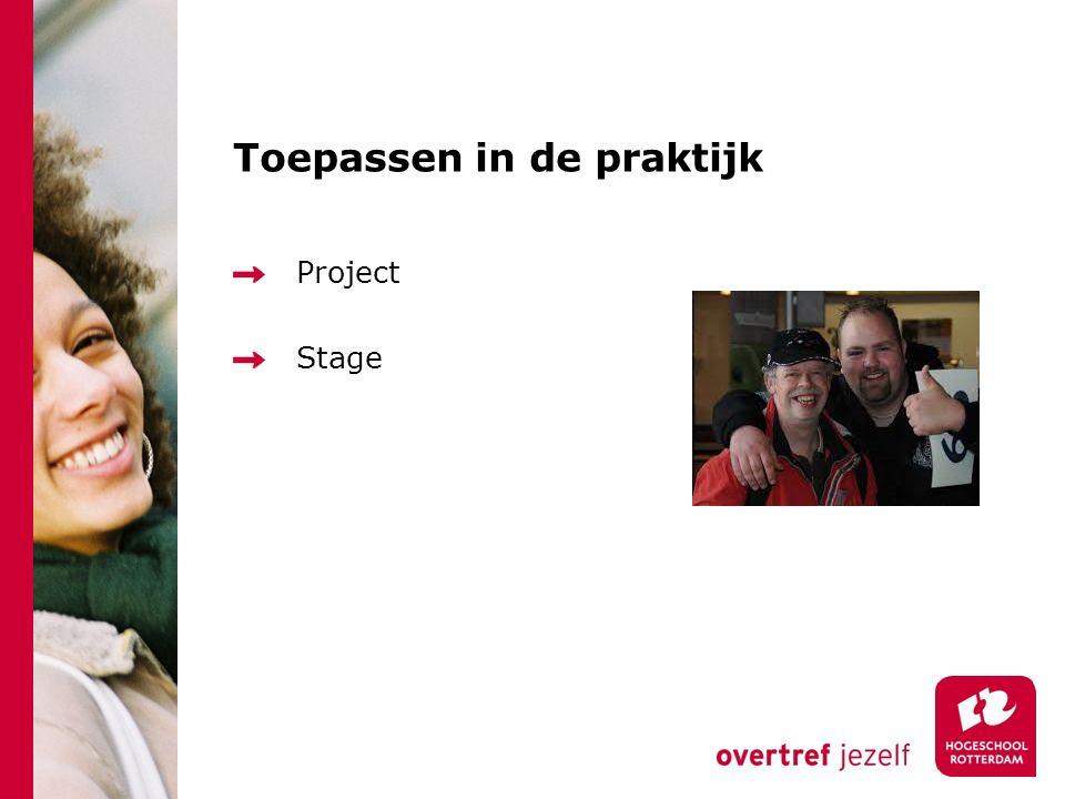 Toepassen in de praktijk Project Stage
