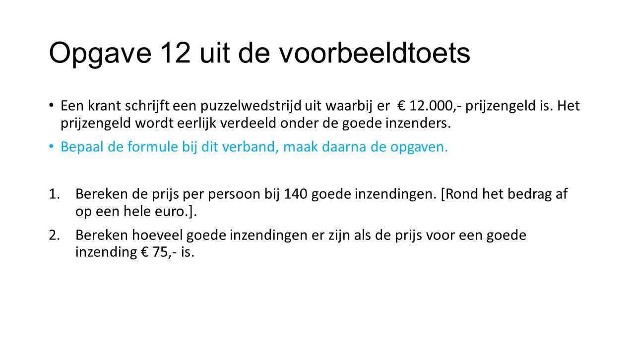 Opgave 12 uit de voorbeeldtoets Een krant schrijft een puzzelwedstrijd uit waarbij er € 12.000,- prijzengeld is. Het prijzengeld wordt eerlijk verdeel