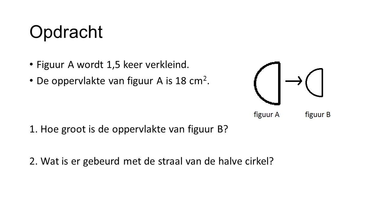 Opdracht Figuur A wordt 1,5 keer verkleind. De oppervlakte van figuur A is 18 cm 2. 1. Hoe groot is de oppervlakte van figuur B? 2. Wat is er gebeurd