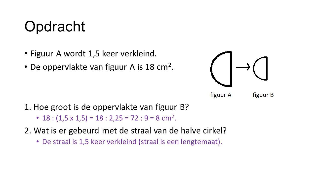 Opdracht Figuur A wordt 1,5 keer verkleind. De oppervlakte van figuur A is 18 cm 2. 1. Hoe groot is de oppervlakte van figuur B? 18 : (1,5 x 1,5) = 18