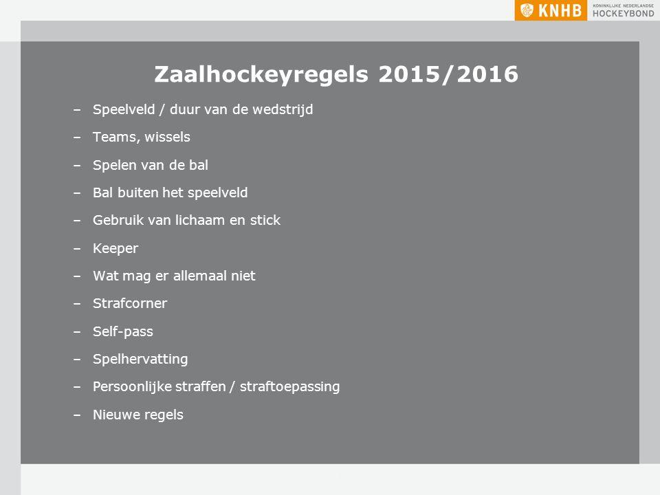 Zaalhockeyregels 2015/2016 –Speelveld / duur van de wedstrijd –Teams, wissels –Spelen van de bal –Bal buiten het speelveld –Gebruik van lichaam en sti