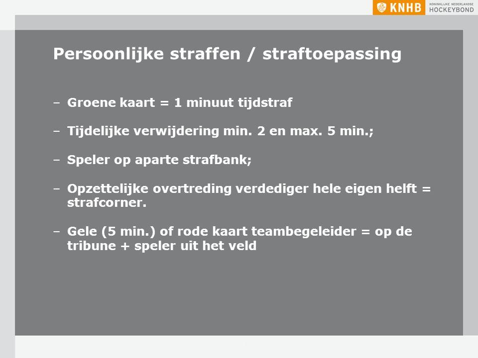 Persoonlijke straffen / straftoepassing –Groene kaart = 1 minuut tijdstraf –Tijdelijke verwijdering min. 2 en max. 5 min.; –Speler op aparte strafbank