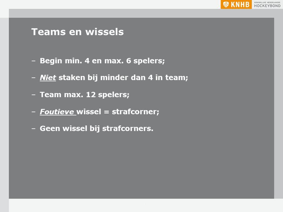Teams en wissels –Begin min. 4 en max. 6 spelers; –Niet staken bij minder dan 4 in team; –Team max. 12 spelers; –Foutieve wissel = strafcorner; –Geen