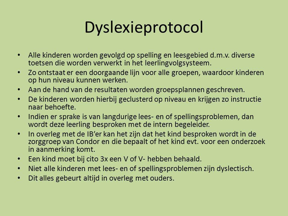 Dyslexieprotocol Alle kinderen worden gevolgd op spelling en leesgebied d.m.v.