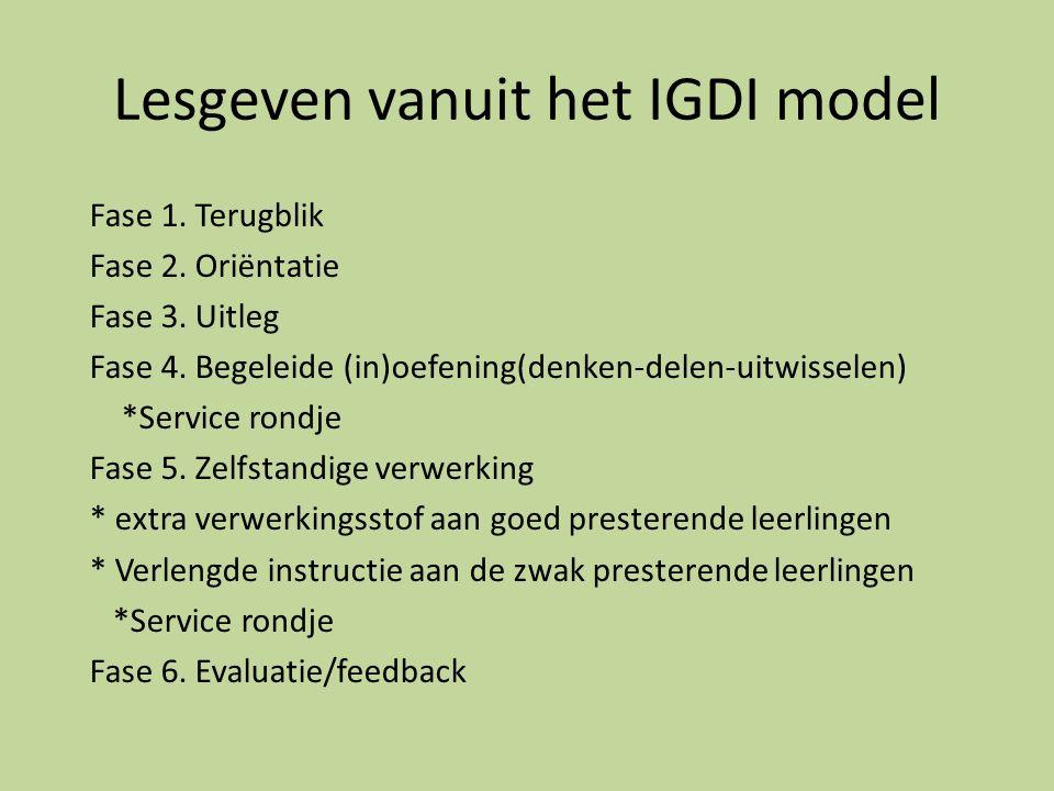Lesgeven vanuit het IGDI model Fase 1.Terugblik Fase 2.