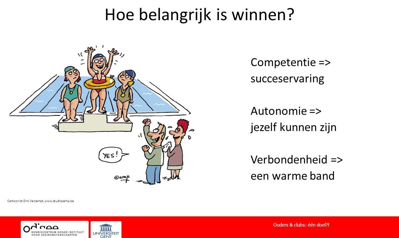 Hoe belangrijk is winnen? Competentie => succeservaring Autonomie => jezelf kunnen zijn Verbondenheid => een warme band Ouders & clubs: één doel?! Car