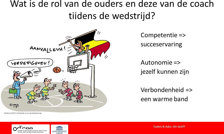 Wat is de rol van de ouders en deze van de coach tijdens de wedstrijd? Competentie => succeservaring Autonomie => jezelf kunnen zijn Verbondenheid =>