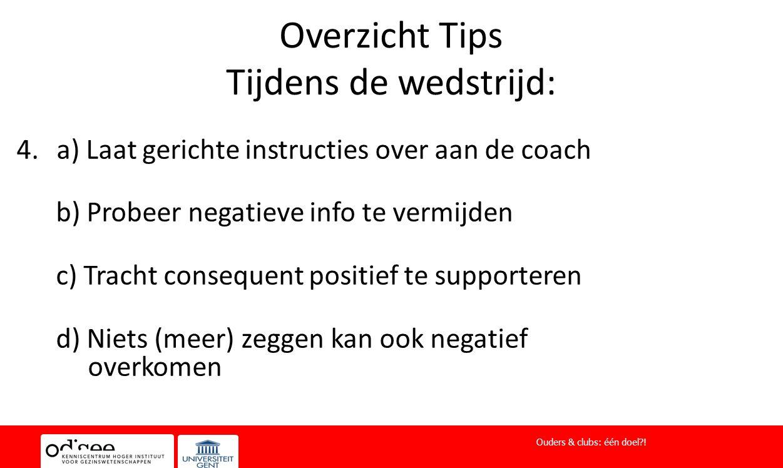 Overzicht Tips Tijdens de wedstrijd: 4.a) Laat gerichte instructies over aan de coach b) Probeer negatieve info te vermijden c) Tracht consequent posi