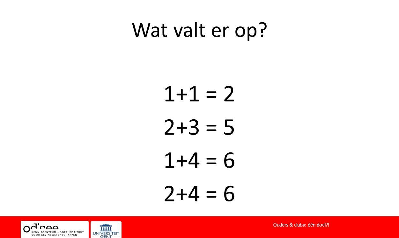 Wat valt er op? 1+1 = 2 2+3 = 5 1+4 = 6 2+4 = 6 Ouders & clubs: één doel?!