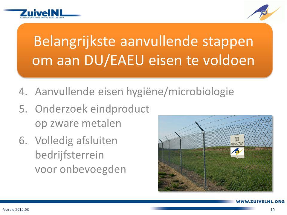 Belangrijkste aanvullende stappen om aan DU/EAEU eisen te voldoen 4.Aanvullende eisen hygiëne/microbiologie 5.Onderzoek eindproduct op zware metalen 6.Volledig afsluiten bedrijfsterrein voor onbevoegden Versie 2015.03 10