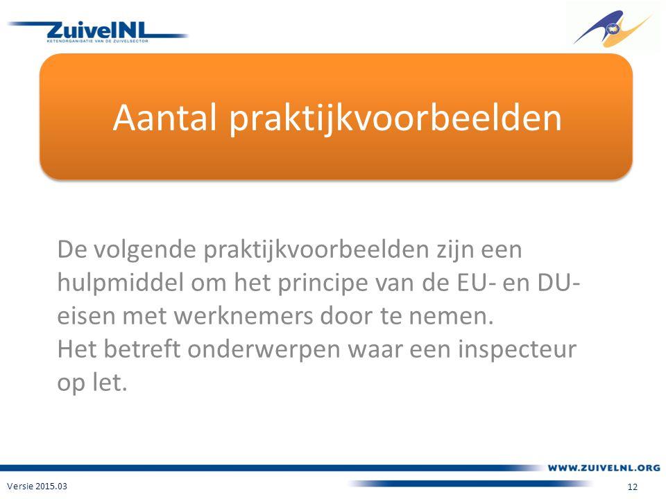 Aantal praktijkvoorbeelden De volgende praktijkvoorbeelden zijn een hulpmiddel om het principe van de EU- en DU- eisen met werknemers door te nemen.