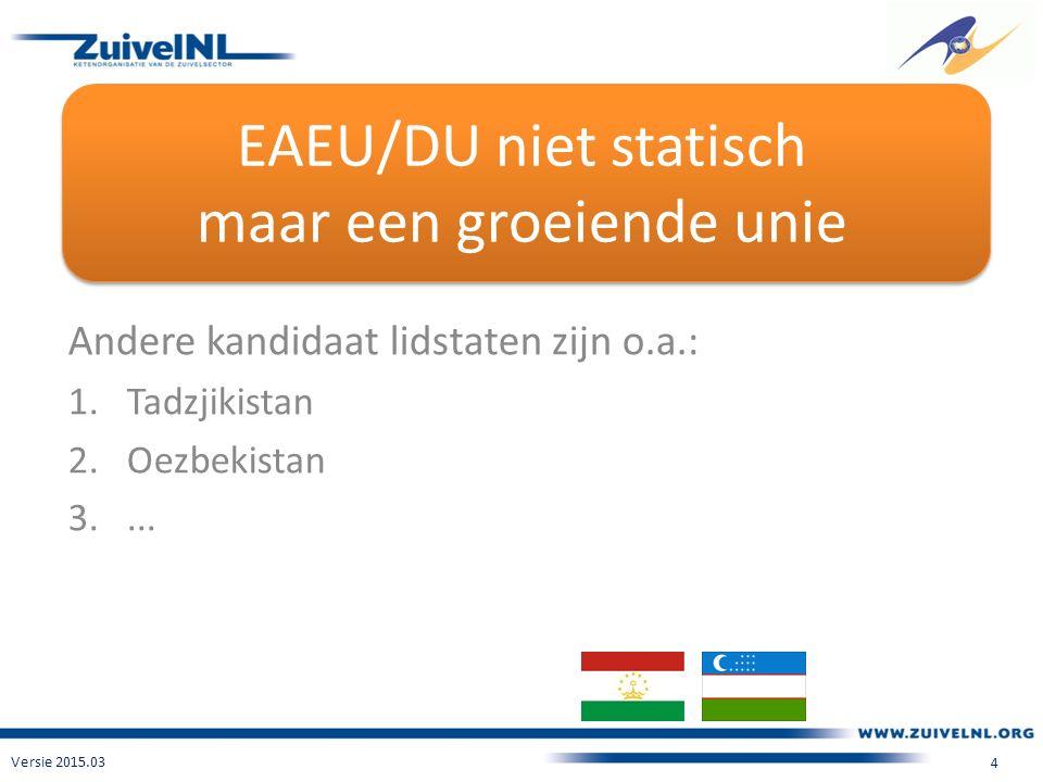 EAEU/DU niet statisch maar een groeiende unie Andere kandidaat lidstaten zijn o.a.: 1.Tadzjikistan 2.Oezbekistan 3....
