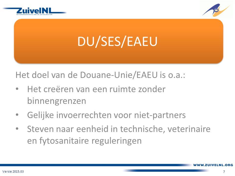 DU/SES/EAEU Het doel van de Douane-Unie/EAEU is o.a.: Het creëren van een ruimte zonder binnengrenzen Gelijke invoerrechten voor niet-partners Steven naar eenheid in technische, veterinaire en fytosanitaire reguleringen Versie 2015.03 7