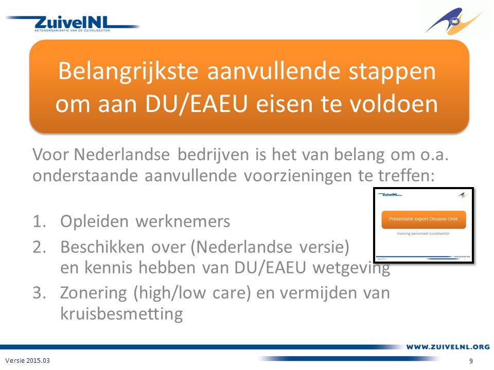 Belangrijkste aanvullende stappen om aan DU/EAEU eisen te voldoen Voor Nederlandse bedrijven is het van belang om o.a.