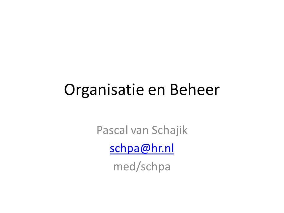 Organisatie en Beheer Pascal van Schajik schpa@hr.nl med/schpa