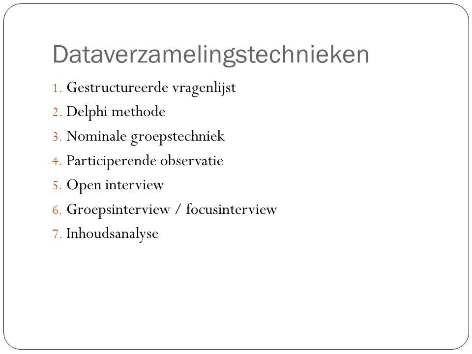 Dataverzamelingstechnieken 1. Gestructureerde vragenlijst 2. Delphi methode 3. Nominale groepstechniek 4. Participerende observatie 5. Open interview