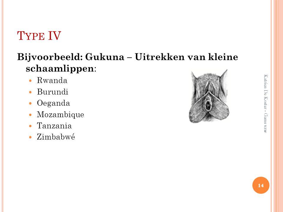 T YPE IV Bijvoorbeeld: Gukuna – Uitrekken van kleine schaamlippen : Rwanda Burundi Oeganda Mozambique Tanzania Zimbabwé 14 Katrien De Koster - Gams vz