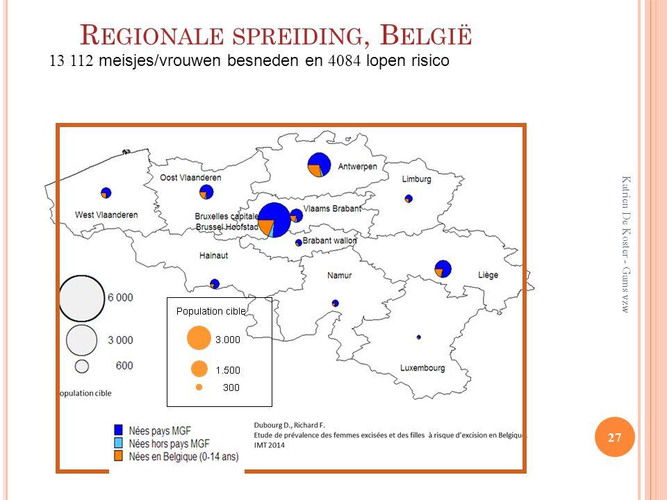R EGIONALE SPREIDING, B ELGIË 27 Katrien De Koster - Gams vzw 13 112 meisjes/vrouwen besneden en 4084 lopen risico