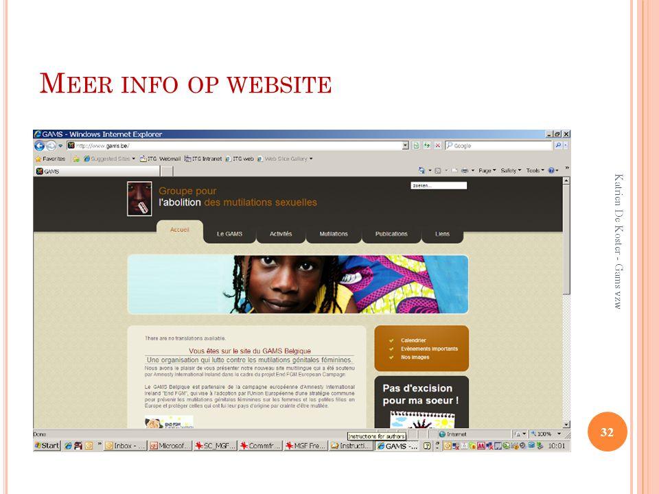 M EER INFO OP WEBSITE 32 Katrien De Koster - Gams vzw