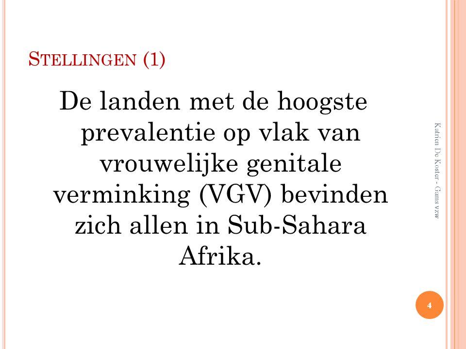 S TELLINGEN (1) De landen met de hoogste prevalentie op vlak van vrouwelijke genitale verminking (VGV) bevinden zich allen in Sub-Sahara Afrika. 4 Kat