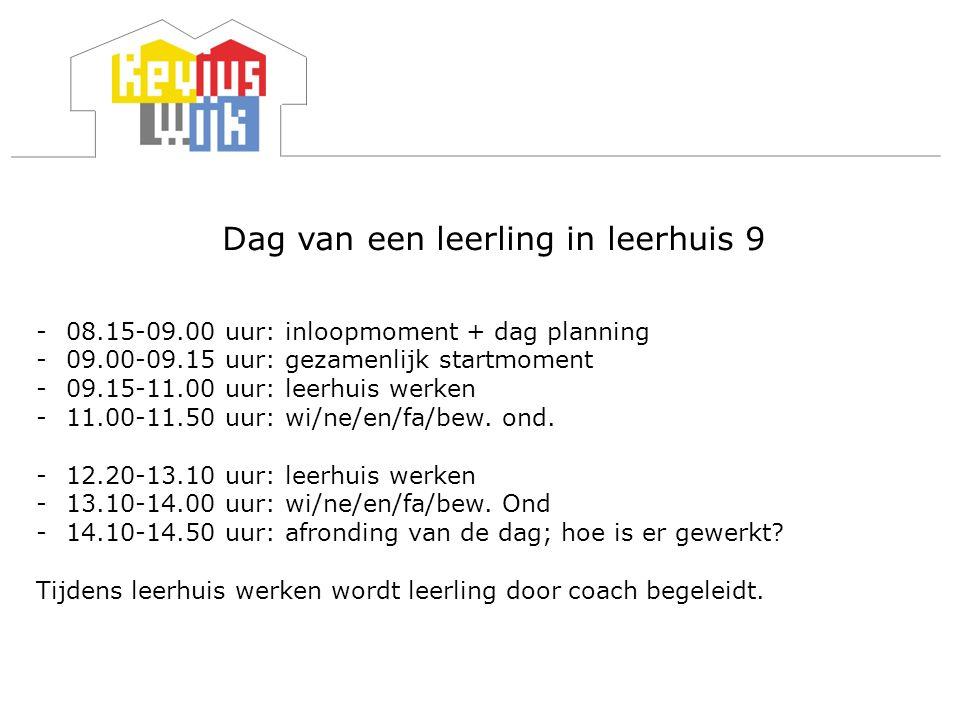 Dag van een leerling in leerhuis 9 -08.15-09.00 uur: inloopmoment + dag planning -09.00-09.15 uur: gezamenlijk startmoment -09.15-11.00 uur: leerhuis werken -11.00-11.50 uur: wi/ne/en/fa/bew.