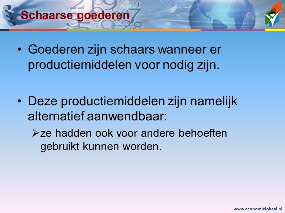 www.economielokaal.nl Schaarse goederen Goederen zijn schaars wanneer er productiemiddelen voor nodig zijn. Deze productiemiddelen zijn namelijk alter