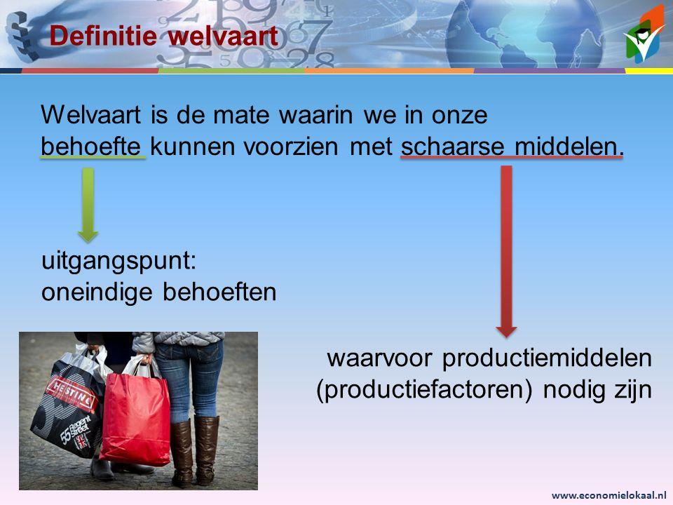 www.economielokaal.nl Definitie welvaart Welvaart is de mate waarin we in onze behoefte kunnen voorzien met schaarse middelen. uitgangspunt: oneindige