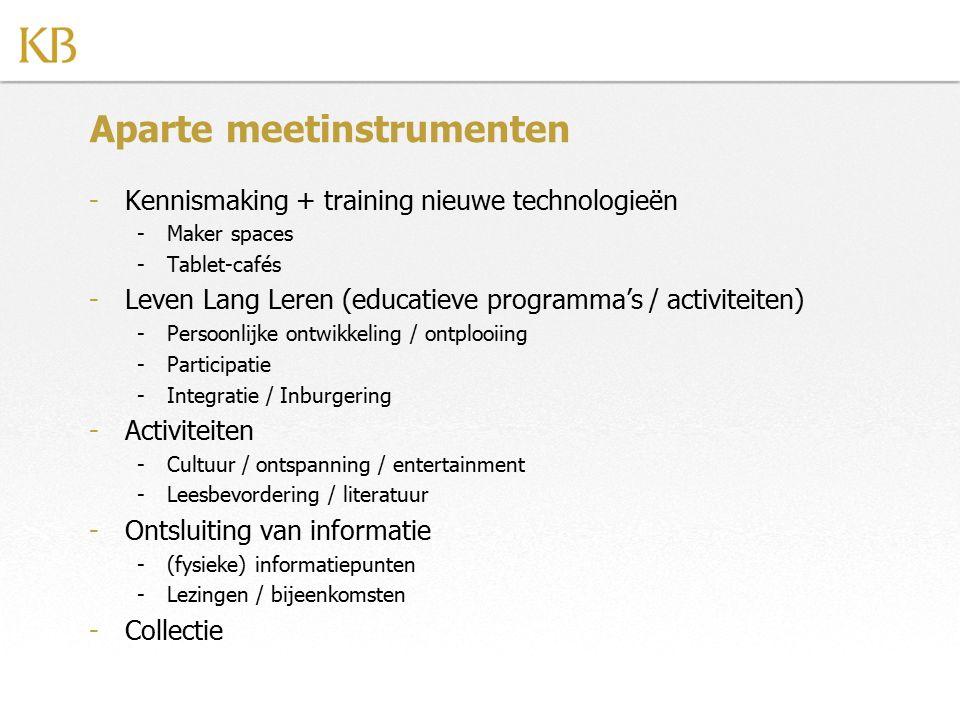 Aparte meetinstrumenten -Kennismaking + training nieuwe technologieën -Maker spaces -Tablet-cafés -Leven Lang Leren (educatieve programma's / activite