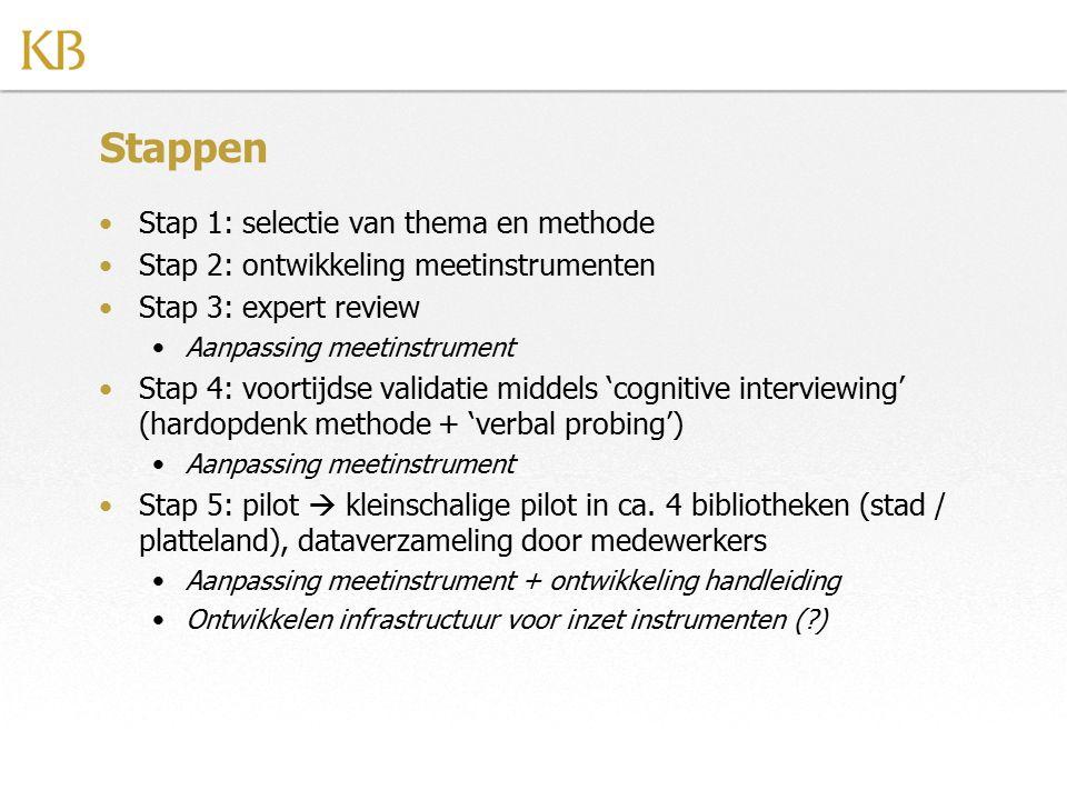 Stappen Stap 1: selectie van thema en methode Stap 2: ontwikkeling meetinstrumenten Stap 3: expert review Aanpassing meetinstrument Stap 4: voortijdse