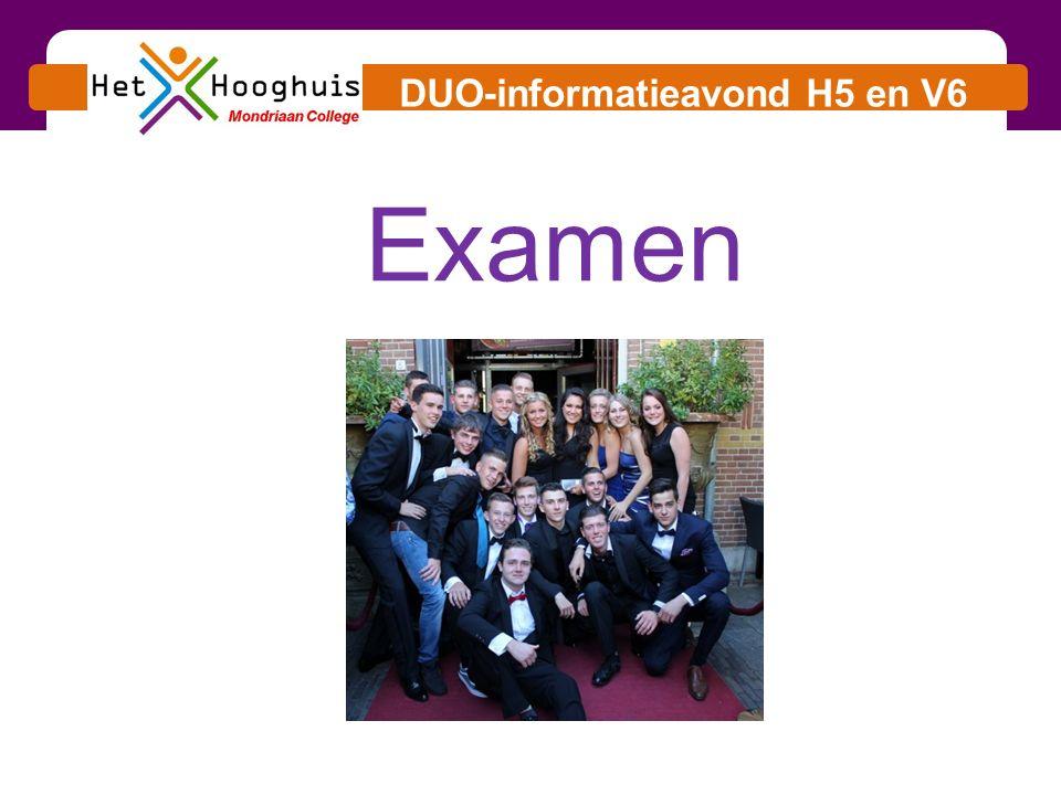 DUO-informatieavond H5 en V6 1.Schoolexamen 2.Centraal examen 3.Data 4.Regels 5.Slaag-/ zakregeling 6.Rekentoets Onderwerpen