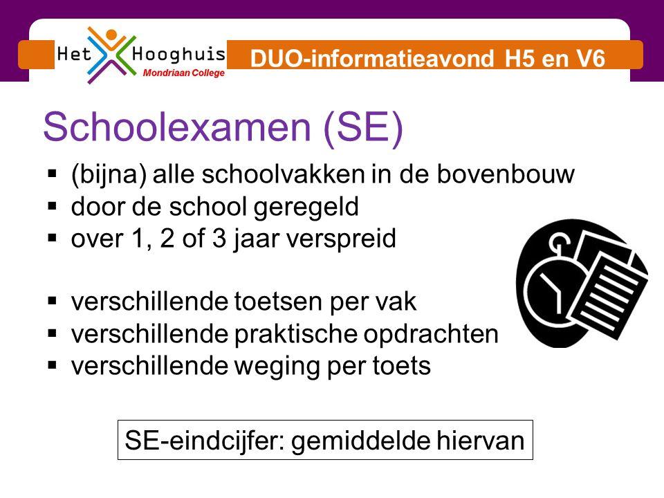 DUO-informatieavond H5 en V6 Centraal examen (CE)  niet alle schoolvakken  één toets per vak  vaste periode / vaste regels  landelijke opgaven / normen  1 e en 2 e correctie  twee tijdvakken