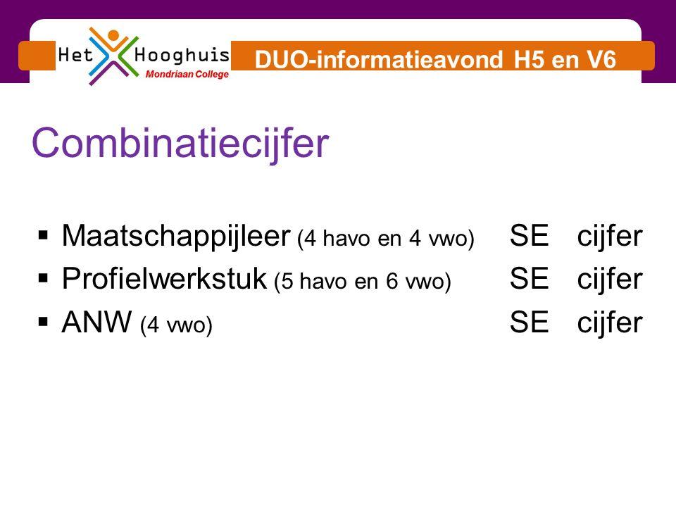 DUO-informatieavond H5 en V6  Maatschappijleer (4 havo en 4 vwo) SEcijfer  Profielwerkstuk (5 havo en 6 vwo) SEcijfer  ANW (4 vwo) SEcijfer Combinatiecijfer